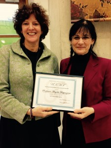 Here is the UKMF Chair, Dr Jenny Bird presenting a certificate to the Michael Morley guest speaker,  Dr Angela Dispenzieri at the Autumn Day 2014.